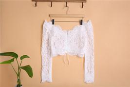 Off Shoulder V-Neck Long Sleeve Lace Crop Tops Boho Wedding Bridal Lace Top image 2
