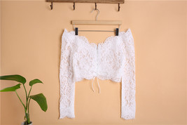 Off Shoulder Long Sleeve Lace Crop Tops Wedding Bridesmaid V-neck Lace Crop Tops image 2