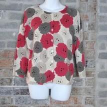 Talbots 3/4 Sleeve Cardigan Sweater Size S Bold Pink Tan Cream Floral Sc... - $24.30