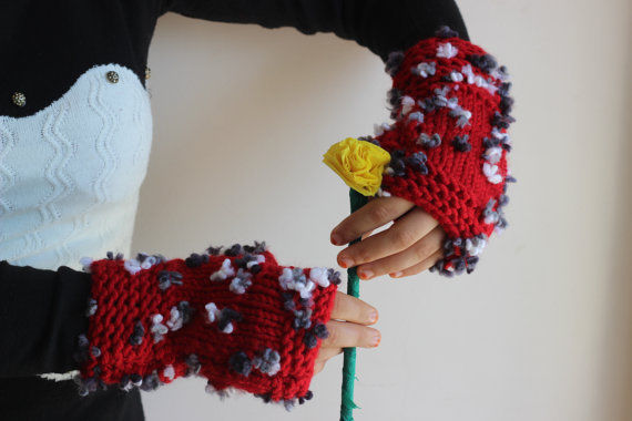 Red Knit Fingerless Gloves with flowers-Red White Grey Gloves-Valentine Gift