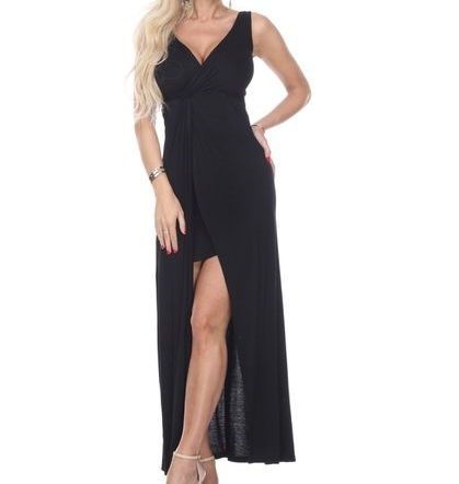 Black Twist Maxi Dress with Slit, Black Layered Maxi Dress, V Neck, Formal