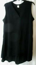 Jennie & Marlis Black V Neck Sleeveless Polyester Blouse Top Large - $19.79