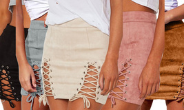 Womens Sexy High Waist Lace up Bodycon Faux Suede Split Tight Mini Skirt - $19.89