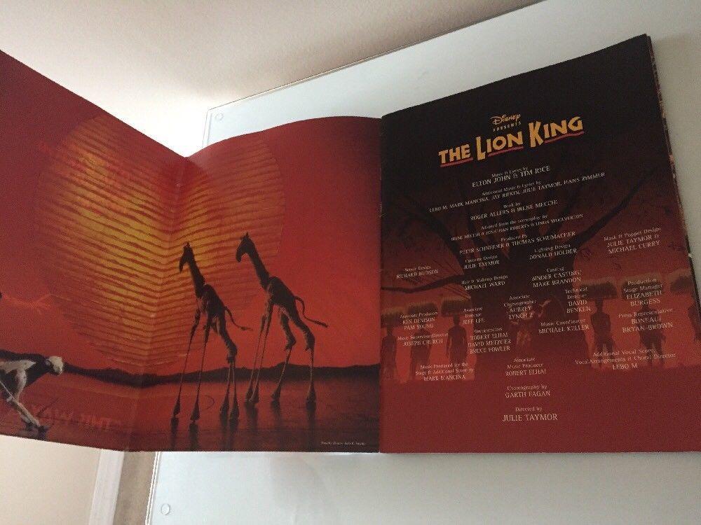 the lion king the broadway musical program 1997 original