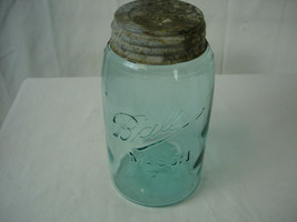 Antique Ball Mason Quart Aqua Blue Glass Jar 1900-1910 Vintage Slope Shoulder - $23.75