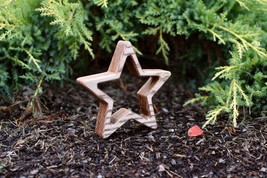 Brown Wood Star Decor Free Standing Maple Wood Star Ornament Rustic Home... - $12.00