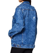 Women's Premium Casual Faded Distressed Denim Jean Button Up Cotton Jacket image 5