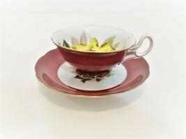 Vintage MERIT Occupied Japan China Cup & Saucer Burgundy Gold Trim Yello... - $19.70