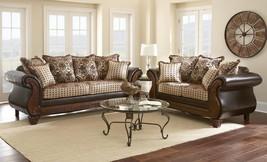 MYCO Furniture La Verne Classic Brown Leather Beige Fabric Living Room Sofa