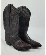 Vtg J.Chisholm men 9 brown leather cowboy western boots - $74.25