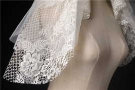Elbow Length Wedding Bridal Veils Layer Moon Star Pattern Lace Tutu White Veils  image 12