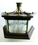 Vtg Mid-Century Modern Wood Brass Ceiling Light Octagonal Etched Glass P... - $149.98