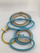 8 Vintage Lucite Wood Embroidery Hoops Oval Round Assorted Sizes - $17.75