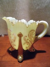 Antique Custard Glass Northwood Inverted Fan & Feather Creamer EAPG - $48.66