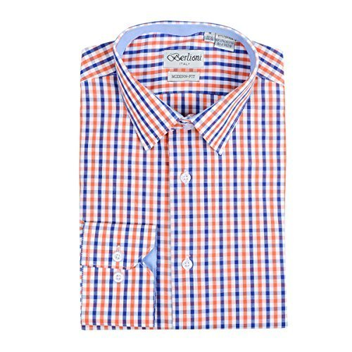 Men's Checkered Plaid Dress Shirt - Orange, Medium (15-15.5) Neck 32/33 Sleeve
