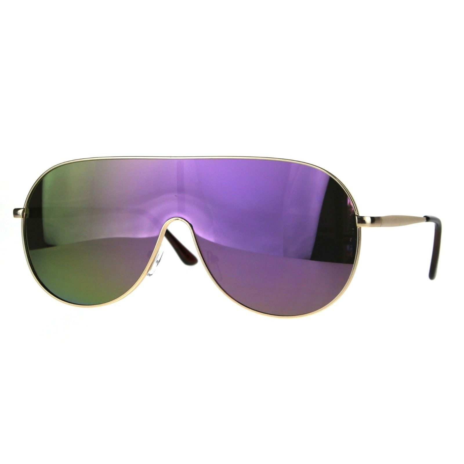 Futuristic Oversized Sunglasses Round Shield Metal Frame Mirrored Lens
