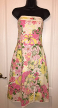 TIBI NEW YORK White Multi-color Floral Print Strapless Dress Sundress Si... - €31,18 EUR