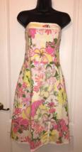 TIBI NEW YORK White Multi-color Floral Print Strapless Dress Sundress Si... - $35.00