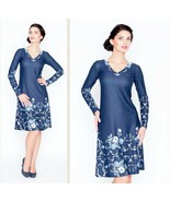 WEAR TO WORK DRESS A-LINE LONG SLEEVE V-NECK CASUAL FLORAL MADE IN EUROP... - $129.00