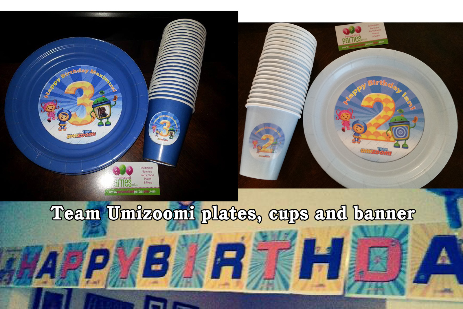 Umizoomi plates cups and banner blue