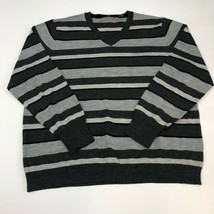 Dkny Sweater Mens XXXL Gray White Stripe V-Neck Long Sleeve Casual - $18.95