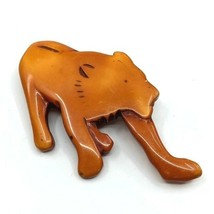 Wonderful Vintage Unique Wood Lacquer Carved Big Cat Brooch Lioness? - $49.99