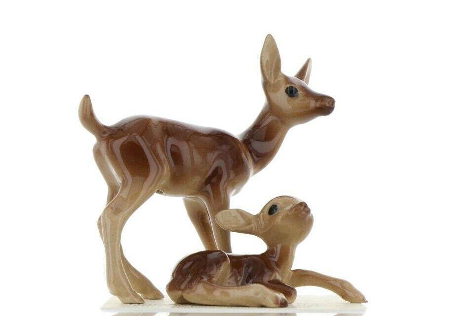 Hagen Renaker Miniature Deer Mamma & Baby Fawn Lying Ceramic Figurine Set