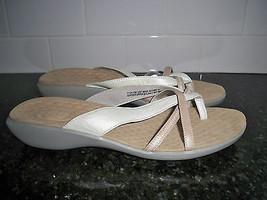 Privo by Clarks Womens Size 12 Pearl White & Tan Wishbone Thong Sandals  - $39.59