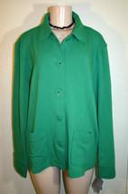 New SAG HARBOR Green Long Sleeve Nautical Anchor Buttons Knit Jacket Top XL - $12.66