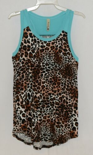 Pomelo Girls Tunic Aqua Brown White Black Leopard Print Size Bedium