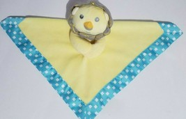 Fisher Price Mattel Lion Lovey Security Blanket Yellow Blue Satin Square... - $14.54