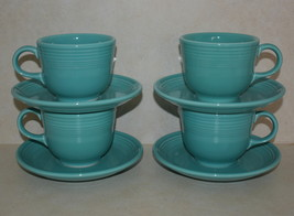 Set of 4 Vintage 90s Fiesta Turquoise Cup & Saucer, 1990s Homer Laughlin Pottery - $52.99