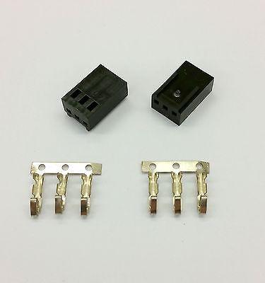 Packung von 2 - Buchse 3 Pin Lüfter Strom Verbinder - schwarz mit Pins