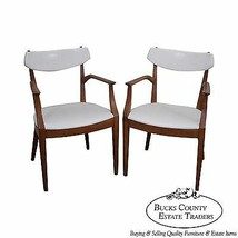 Drexel Suncoast Kipp Stewart Pair of Solid Wood White Leather Arm Chairs (B) - $1,295.00