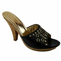 Michael Michael Kors Black Gold Cork Mule Heels Metal Rings Studs Accents - $38.50