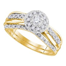 10kt Yellow Gold Round Diamond Halo Bridal Wedding Engagement Ring Set 1/3 Ctw - $622.54