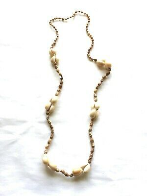 Brown Sea Shell Necklace with Shell accents 32 inches No Clasp