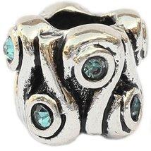 Curvy Design with Teal European Bead Pandora Style Chamilia Troll Biagi - $4.83