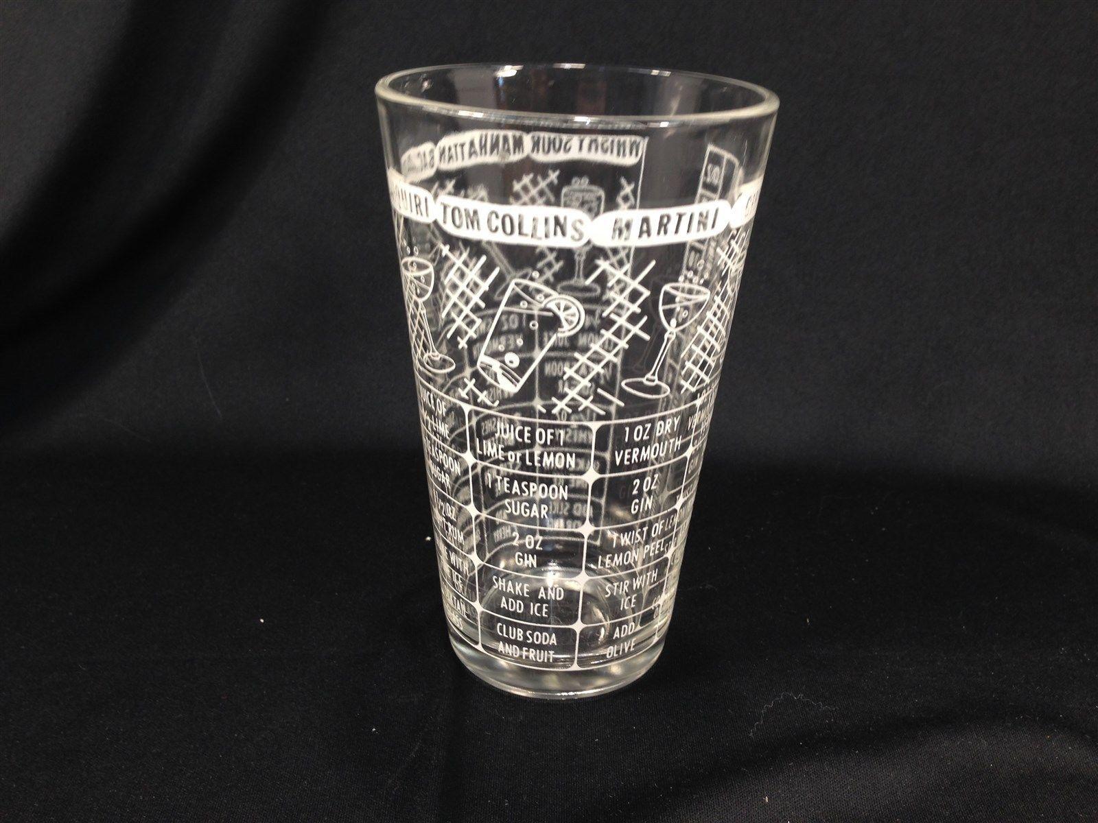 Vintage Drink Mixing Bar Glass Clear White Gibson Manhattan Tom Collins Daiquiri
