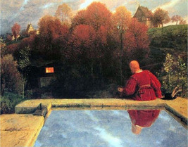"""Arnold -Böcklin Die Heimkehr  in 1887 in the landscape of autumn 11x14"""" ... - $23.99"""