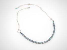 Hematite Apatite Bib Necklace, (Hemalyke), Gemstone Beads, Sterling Silver - $45.00