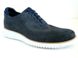Cole Haan Zerogrand Laser Cut Wing Marine Blue Nubuck Oxford Shoes SZ 8M 8 M - $98.99