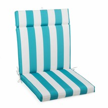"Aqua Blue Striped Outdoor Patio Chair Cushion Pad Hinged Seat Back 44"" L... - $58.90"