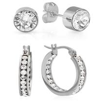 PIATELLA Set of 2 Stainless Steel 7mm Stud & 25mm hoop earrings adorned - $13.99
