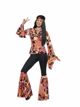 Smiffys Women's 1960's Willow The Hippie Costume, Top, pants, Headscarf and - $54.82