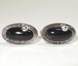 Vtg Swank Ouroboros Snake Tail Cufflinks Silver Tone Black Oval Stone - $27.99
