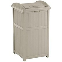 Suncast 30-33 Gallon Deck Patio Resin Garbage Trash Can Hideaway, Taupe ... - $69.89