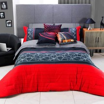 Black and Red Modern Trendy Design Dante Reversible Comforter Set by Intima - $127.66+