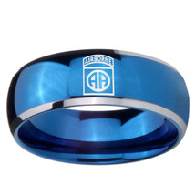 Army Airborn 8mm Two Tone Blue Dome Tungsten Carbide Ring - $39.99