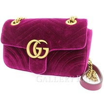 GUCCI Chain Shoulder Bag GG Marmont Velvet Purple 446744 Italy Authentic... - $1,396.73